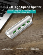 USB 2.0 HUB With Phone Holder 4 Port High Speed USB HUB Splitter With Micro USB Charging interface For iPhone OS Accessories