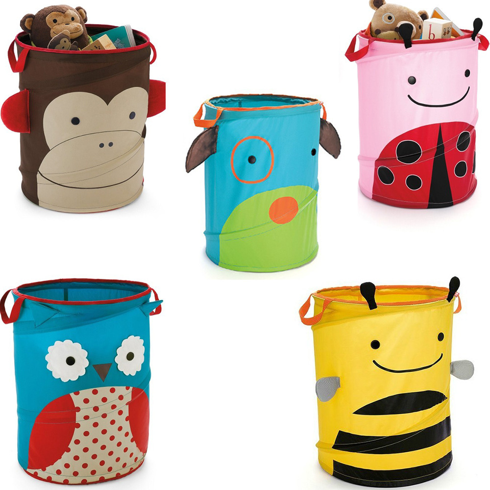 Free shipping oxford fabric bucket earmuffs dirty clothes clothing toy basket organizer sundries - Cesta para guardar juguetes ...