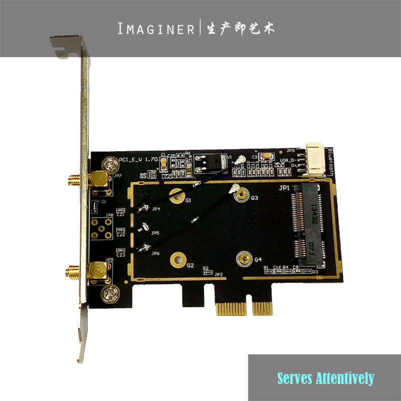 Wireless Mini Pcie <font><b>Pci</b></font>-e To Pcie <font><b>Pci</b></font>-e <font><b>Pci</b></font> <font><b>Express</b></font> <font><b>X1</b></font> 16x Adapter Converter with 2x Antenna <font><b>PCI</b></font>-e PC WiFi Wireless Adapter image