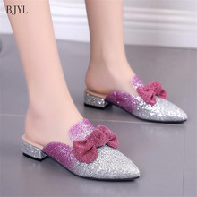 BJYL 2019 Summer Sequin shoes woman spring solid bow flat fashion women Low-heeled ballet slip on loafers B86