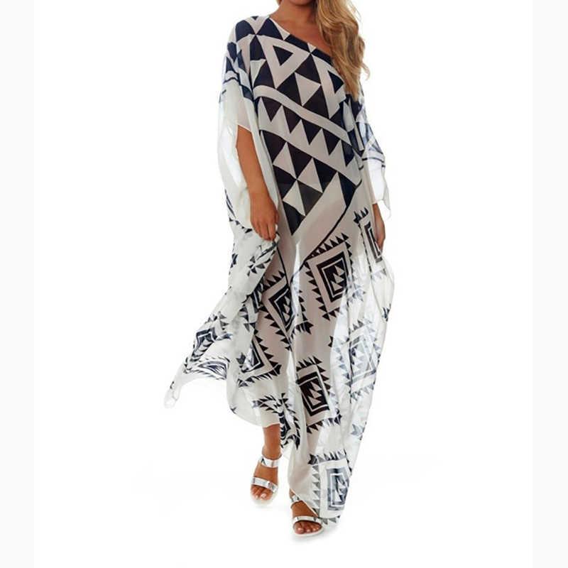 bfc464e8a60 ... Plus size Beach Cover up Chiffon Dress Saida De Praia Beach Kaftan Robe  de Plage Bikini ...