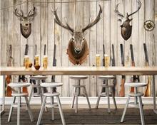 Beibehang Personality wallpaper deer head shotgun hunting nostalgic fresco background wall decoration 3d papel tapiz