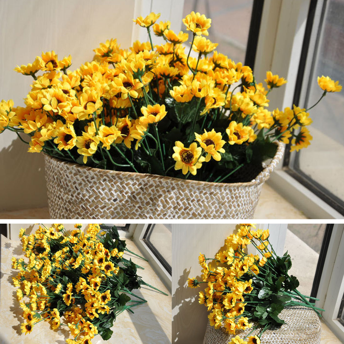 Great Cheap 1 Bouquet Yellow Silk Sunflower Home Table Decoration