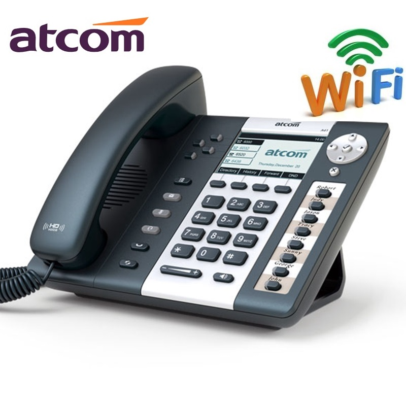 ATCOM A41W 4 SIP Lines WiFi Entry-level business wireless Operator's SIP Phone, office Desktop IP phone atcom a21 poe 2 sip line entry level business ip phone dual core cpu hd voice backlight lcd desktop office voip telephone