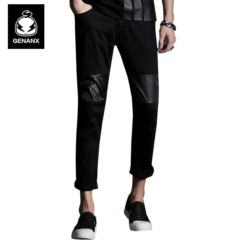 Genanx Brand Black Slim Casual Pants Korean Version Thin Stitching Insert Cotton Trousers Male mens joggers 2017 brand male trousers men pants casual pants sweatpants jogger black xxxl adbbb