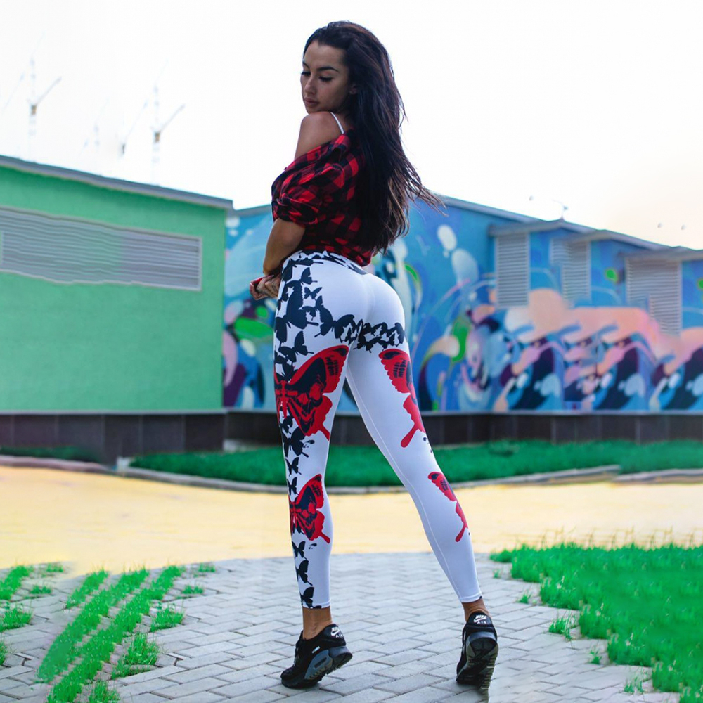 GAGALOOK 2018 Cross Border Wholesale Ins Explosive Sports Fitness Yoga Butterfly Print Pants Female New Hot P3867