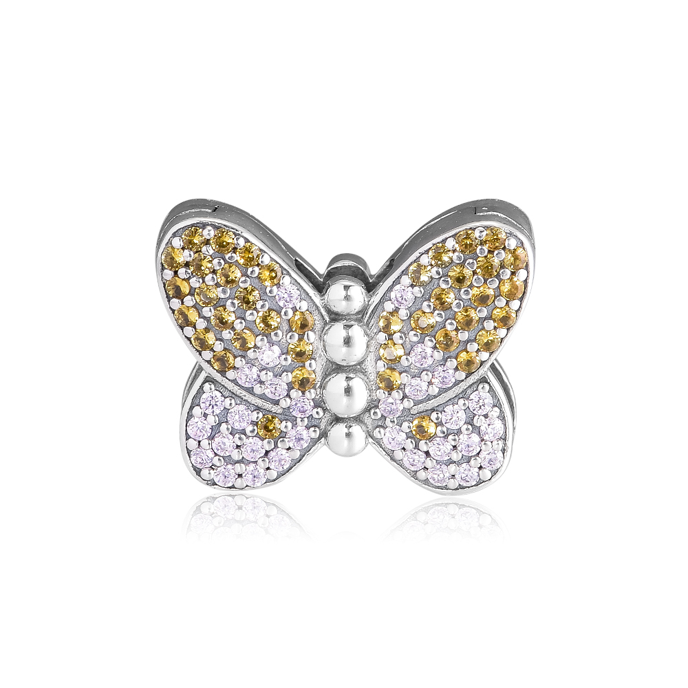 CKK Bedazzling Butterfly Charms 925 Original Fit Reflexions Bracelet Sterling Silver Charm Beads for Jewelry Making Bijoux BeadCKK Bedazzling Butterfly Charms 925 Original Fit Reflexions Bracelet Sterling Silver Charm Beads for Jewelry Making Bijoux Bead