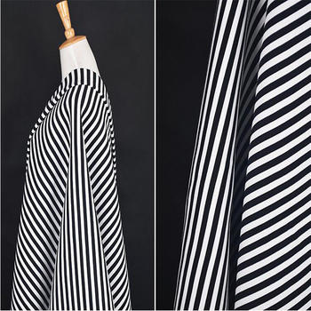 Customized Cheap Polyester Spandex Black and White Stripe Printing Scuba Knit Skirt Fabric