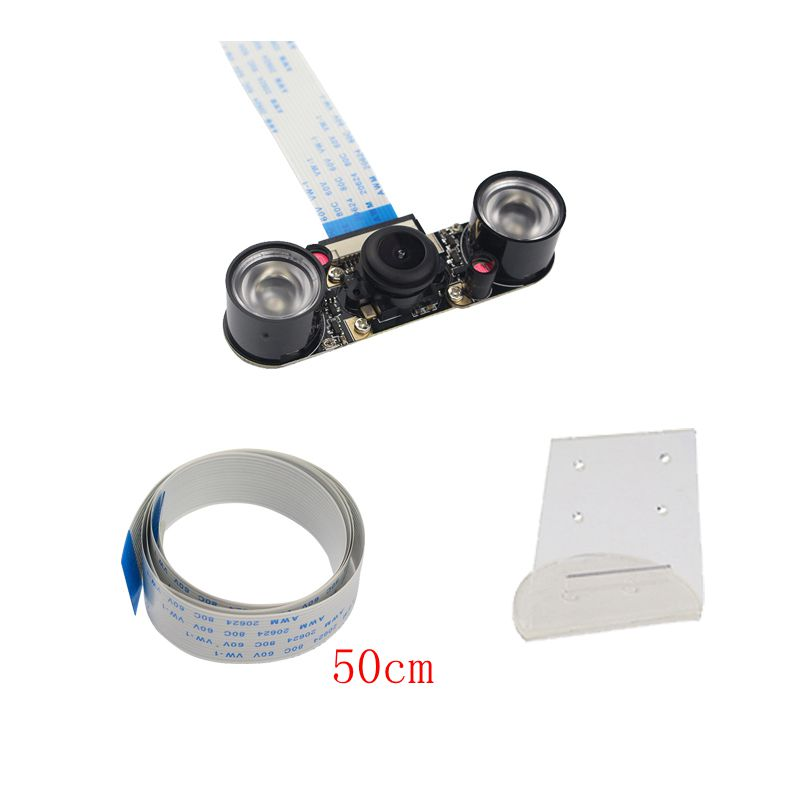 Raspberry Pi 3 Fish Eye Wide Angle Night Version Camera+IR Lights+Transparent Acrylic Holder+FFC Cable for Raspberry Pi 3B+
