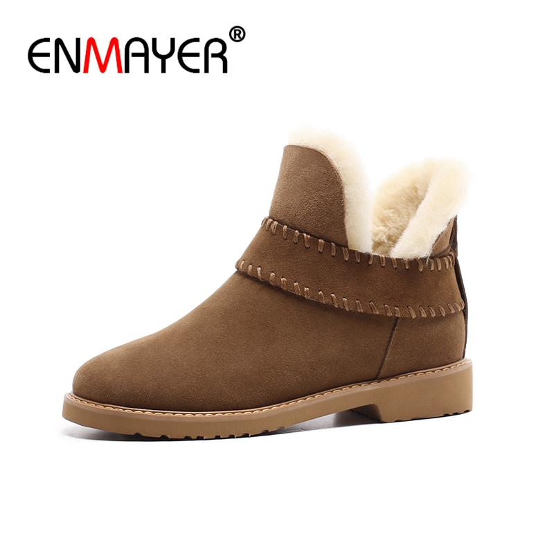 ENMAYER Women Ankle boots Winter boots shoes woman Genuine cow leather snow boots Black yellow size 34 40 Free shipping CR665 in Ankle Boots from Shoes
