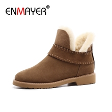 ENMAYER Women Ankle boots Winter shoes woman Genuine cow leather snow Black yellow size 34-40 Free shipping CR665
