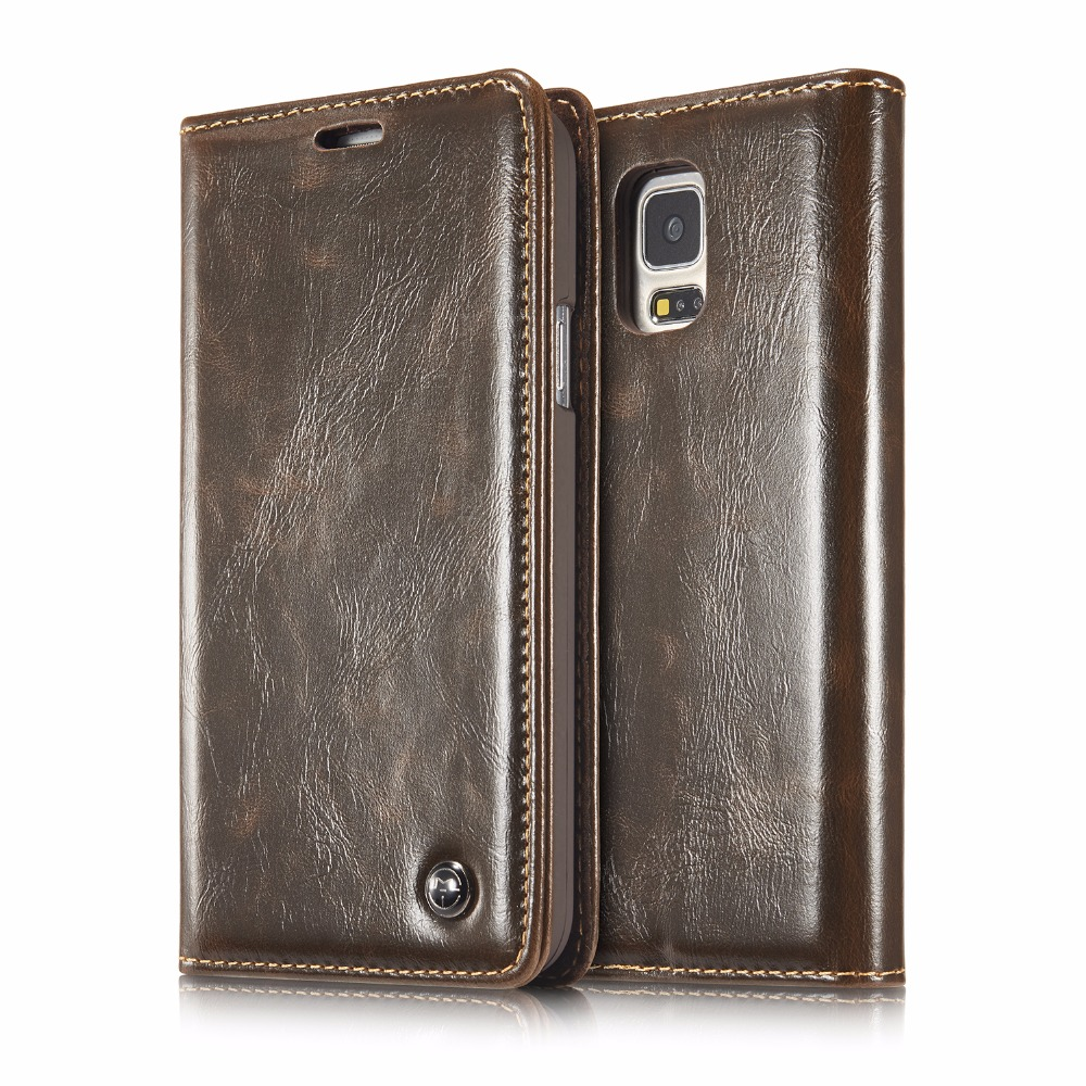 Brand Caseme 003 Retro Glossy Leather Flip Cases For Samsung Galaxy S4 S5 S5 mini Note 4 5 edge Card&Cash Slots Wallet Flip Capa