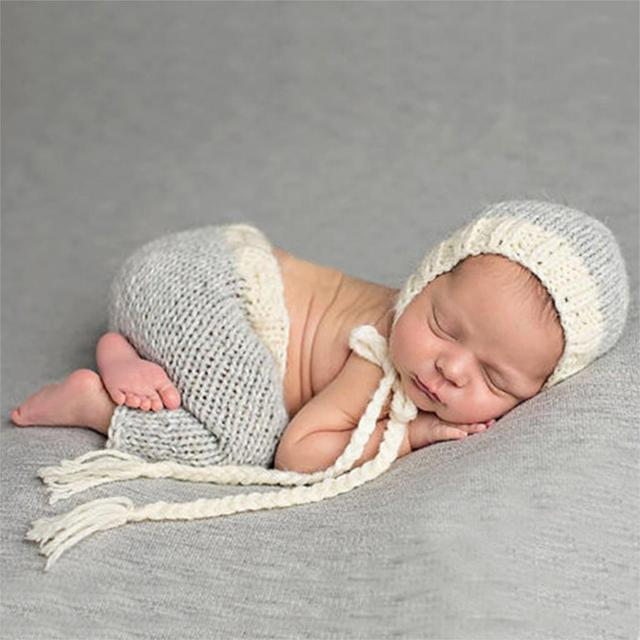 Newborn photography props costume handmade crochet knit infant beanie hat and pants cute for baby set