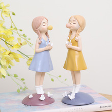 Cute Cartoon Girl Resin Miniature Figurine Plant Pot Car Craft Ornament Children Bedroom Home Office Garden Decoration