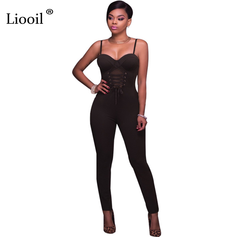 Liooil 2017 Autumn Spaghetti Strap Rompers Womens Jumpsuit Sleeveless Lace Up Bodycon Women Rompers Back Zipper