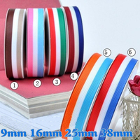 100 Yards 9mm/25mm Three color Dynamic Striped Line Polyester Grosgrain Ribbon DIY Apparel Sewing Bow Material
