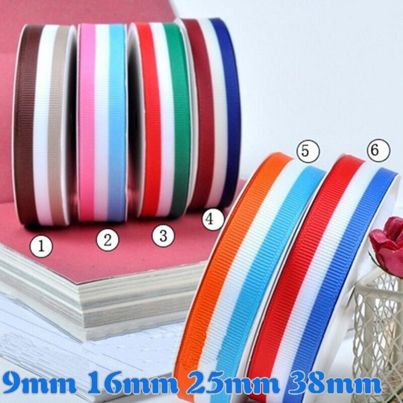 100 Yards 9mm/25mm trois couleurs dynamique rayé ligne Polyester gros-grain ruban bricolage vêtements couture arc matériel