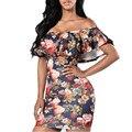 Лето Dress Без Бретелек Оболочка Отпечатано С Плеча Мини Бинты Bodycon Sexy Women Dress