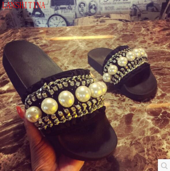 812b4a78df7c 2017 LANSHITINA White Pearl Sandals Women Holidays shoes Slide Sandals Open  Toe Flats Fashion Diamond Stud Sandals