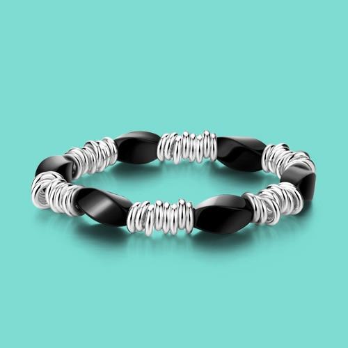Fashion 925 sterling silver bracelet Ethnic Black zircon design lady - Fine Jewelry