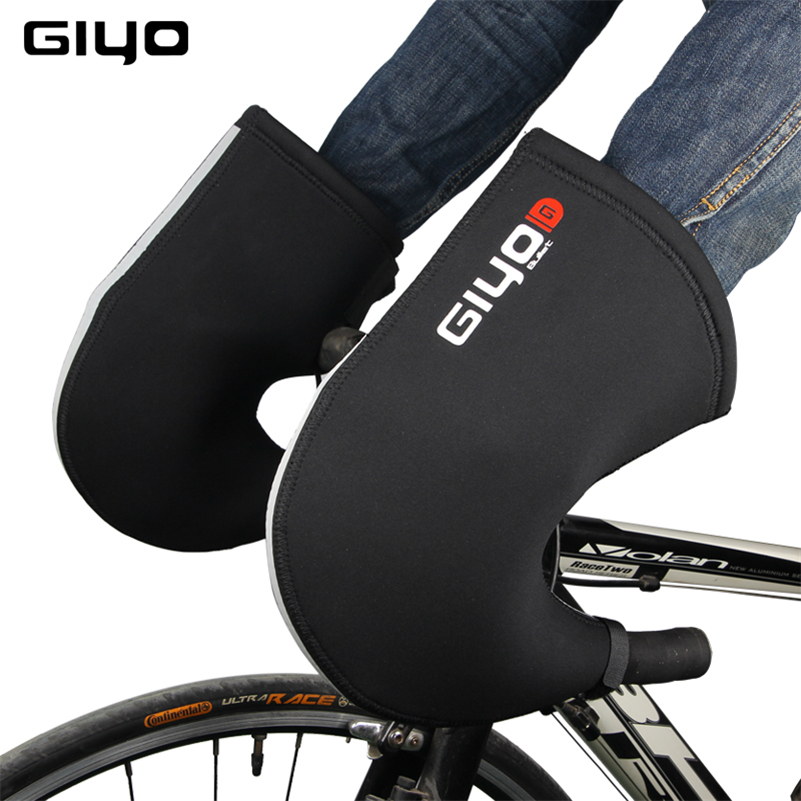 GIYO Winter Cycling Gloves Windproof Waterproof Warm Covers Gloves MTB Bike Bicycle Handlebar Mittens Reflective Cycling Gloves coolchange 27005 waterproof cycling bike rubber handlebar covers black pair