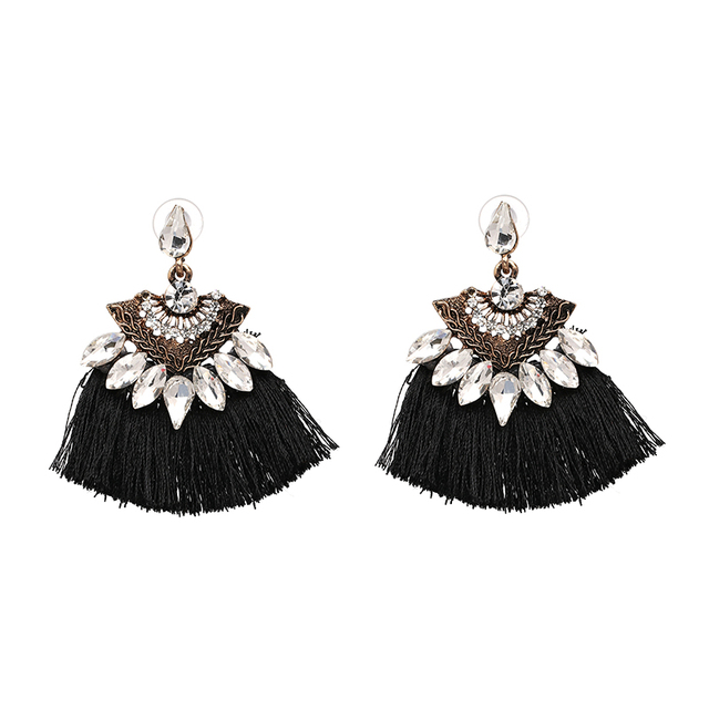 Bohemia Dangle Drop Earrings Women Accessories Fan Shaped Cotton Handmade Tassels Fringed Earrings Ethnic Jewelry  1
