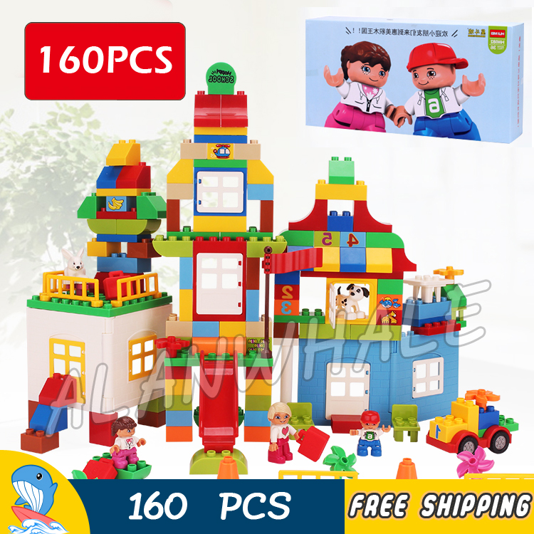 160pcs My First Deluxe Box of Fun Large Amusement Park Castle Model Building Blocks Toy Bricks Compatible With Lego Duplo