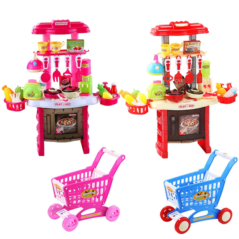 65 pièces Mignon Coloré Enfants Simulation Cuisine Kit de jouet chen Prétendre Portique jouet pour jeu de rôle Kit avec Panier