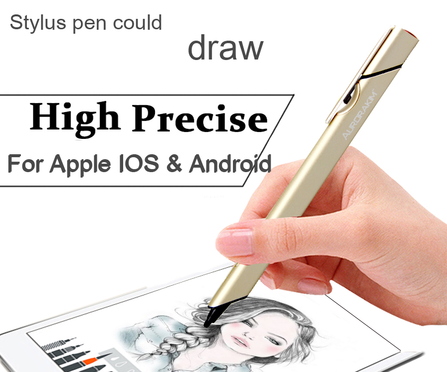 Aurorakim popular  shape  high precise  stylus pen for tablet and smartphone for IOS & Android  1.4mm stylus slim nib  USB CHARG stylus pen for smartphone tablet pc