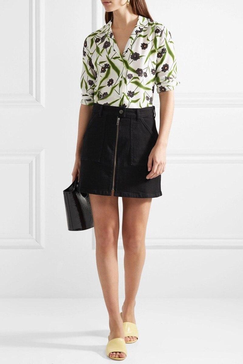 100 Silk Women Blouse Romantic Green Leaf Flower Print Long Sleeve Shirt