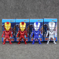 4 Pcs/Lot 9cmThe Avengers Q Version Mini Iron Man PVC Action Figures Collection Model Toy For Gift Free Shipping
