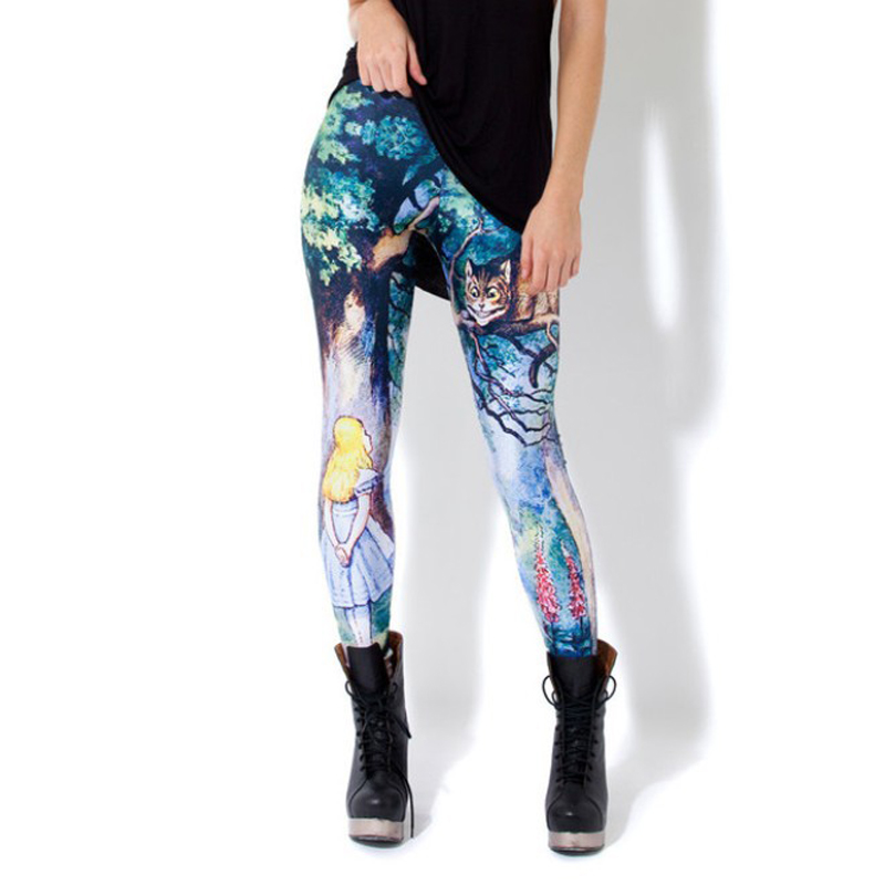 Sexy Girl Alice in Wonderland Cheshire Cat Toothless Prints High Waist Workout Fitness Women   Leggings   Pants