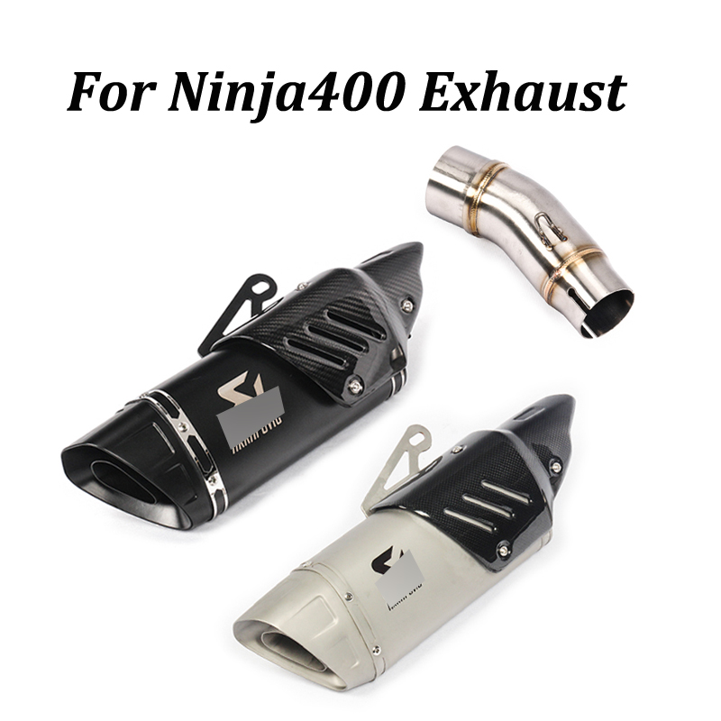 For Kawasaki Ninja400 Motorcycle Exhaust Muffler Modified With Middle Connection Link Pipe Moto Escape Tail Pipe