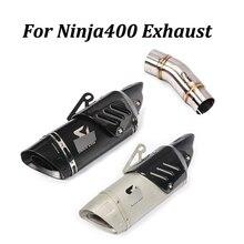 Para Kawasaki Ninja400 silenciador de Escape para motocicleta modificada con medio conexión tubo de conexión Moto escapar tubo de cola antideslizante en