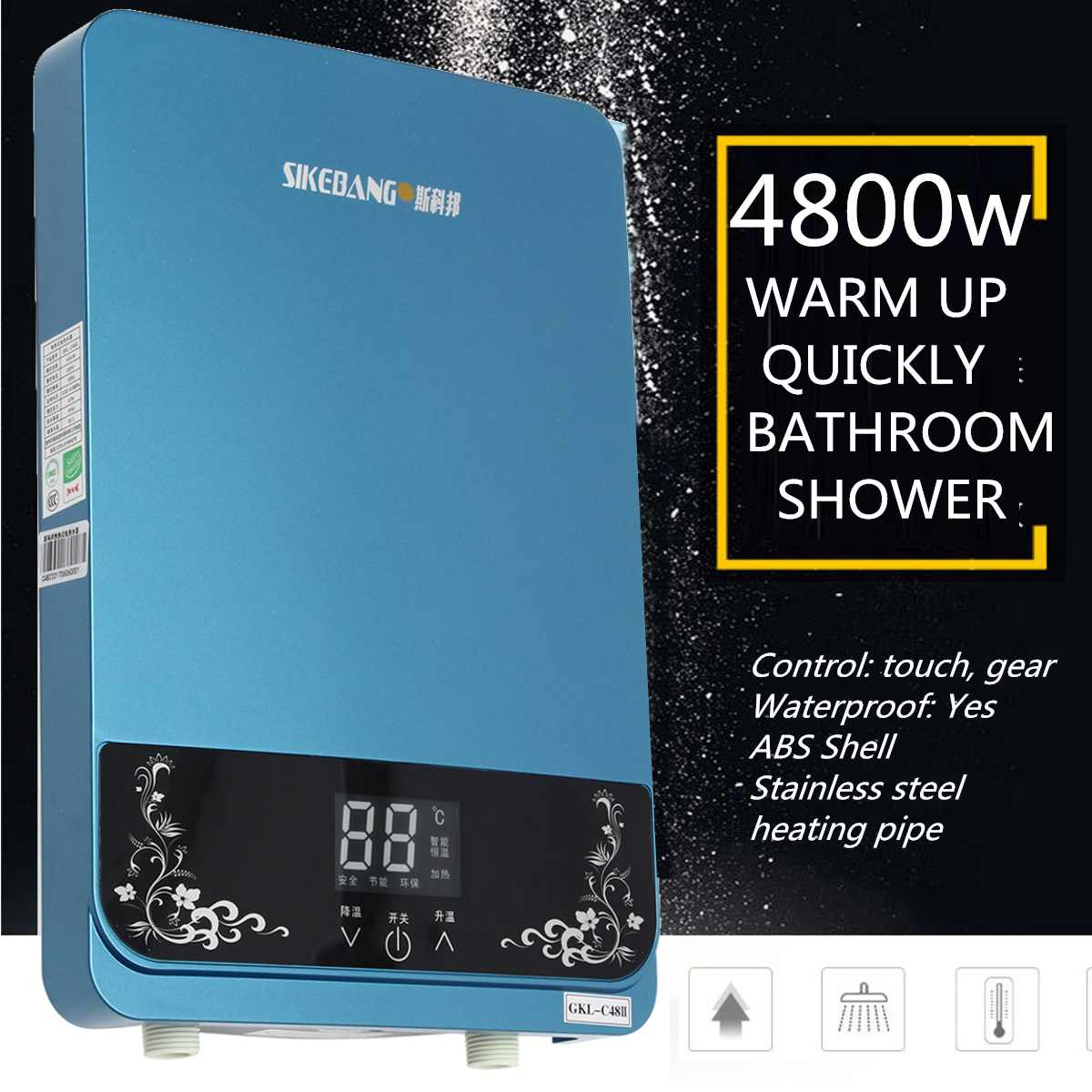 4800W Water Heater Instant Electric Tankless  Instantaneous Bathroom Kitchen Electric Faucet Shower Water Tap