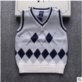 Hot sale Spring autumn 100% cotton baby cardigan boy's V-neck sweater vest kids waistcoat girls boys sweaters for 2-8T