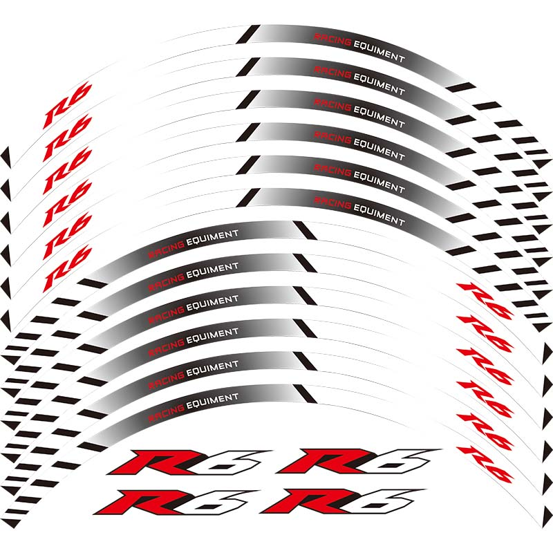 For YAMAHA YZF R6 YZF1000 YZF-R6 12 X Thick Edge Outer Rim Sticker Stripe Wheel Decals