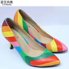 Europe Fashion Women Pumps Summer Style Rainbow Shoes Woman Pointed Toe Hollow Women Shoes Big Size 5 CM 7 CM  9 CM High Heels