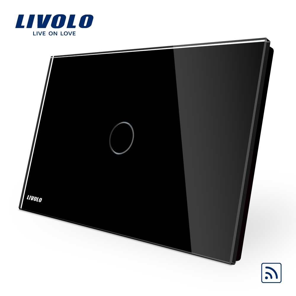 US AU Standard Livolo Black Pearl Crystal Glass Panel VL C901R 12 110 250V 433 92MHz