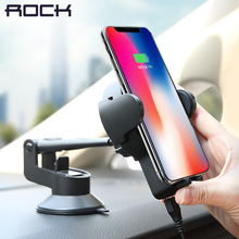 Qi Car Wireless Charger for iPhone X 8,ROCK 5W Wireless Car Charger for Samsung,Car Holder Stand wireless charger Free to rotate