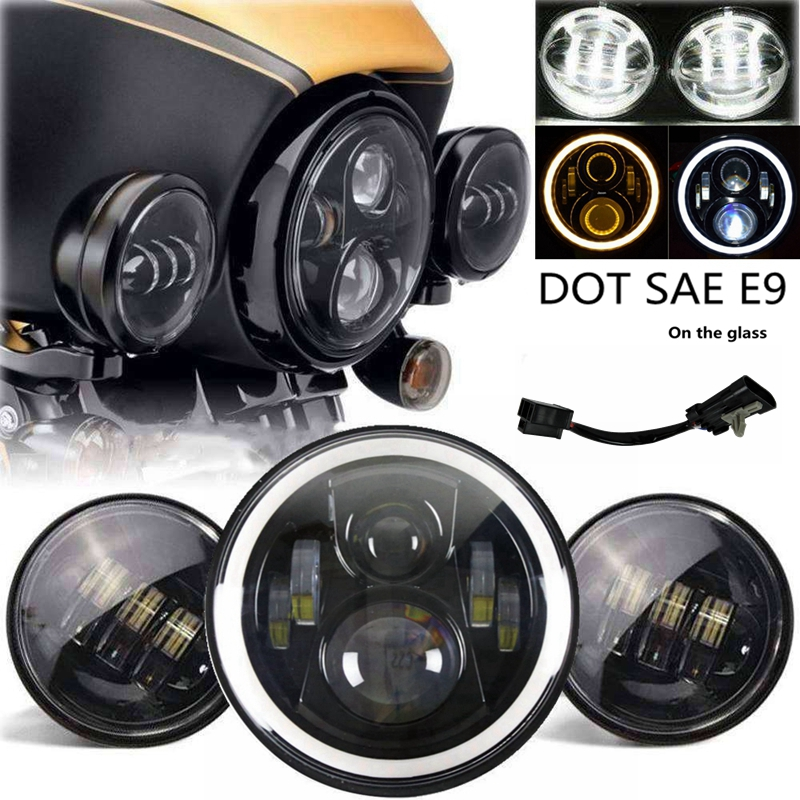 For Harley Davidson Motorcycle lighting Set LED 7 Daymaker Headlight Passing Lights Touring Street Glide 7 inch black harley daymaker led headlight 2x4 1 2 fog light passing lamps for harley davidson ultra classic glide motorcycle