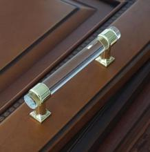 3 Acrylic Drawer Knobs Pull Handles Dresser Pulls Gold Glass Look Kitchen Cabinet Door Handle Modern Style 76mm