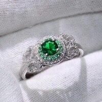 Прямая доставка 90% акции роскошные ювелирные изделия из чистого 100% стерлингового серебра 925 Круглый Форма 5A зеленый CZ Свадьба Бабочка кольц