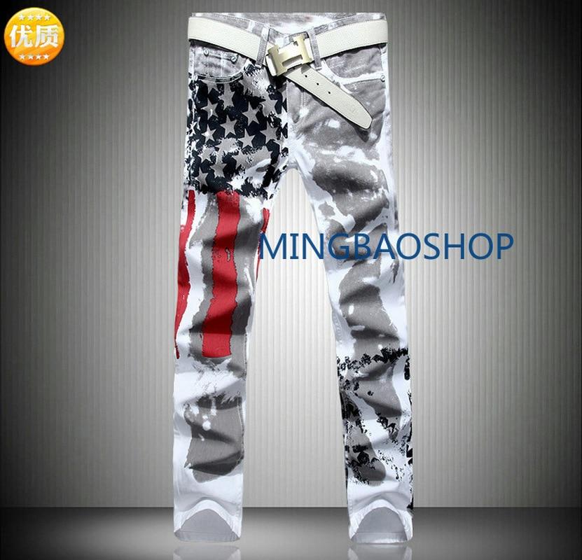 American Flag Printed Jeans High Elasticity Slim Leisure Pentagon Red Bar Large Size Pants men jeans pants men pants brand 2019 in Jeans from Men 39 s Clothing