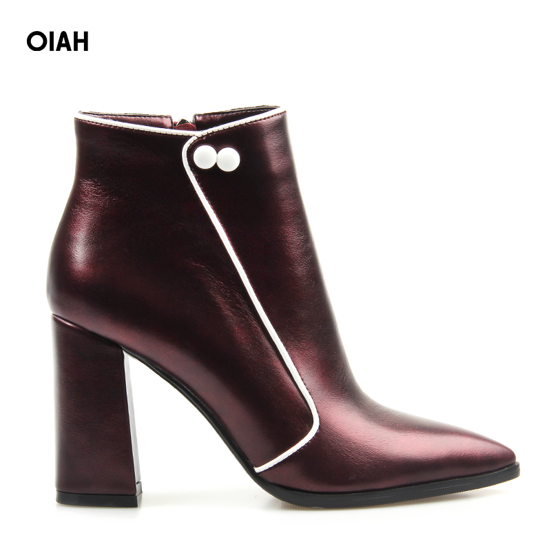 купить Women Ankle Boots PU Super high Heel Pointed Toe Boots Winter Autumn Boots Warm Fur Big Size Square Heel Ankle Boots недорого