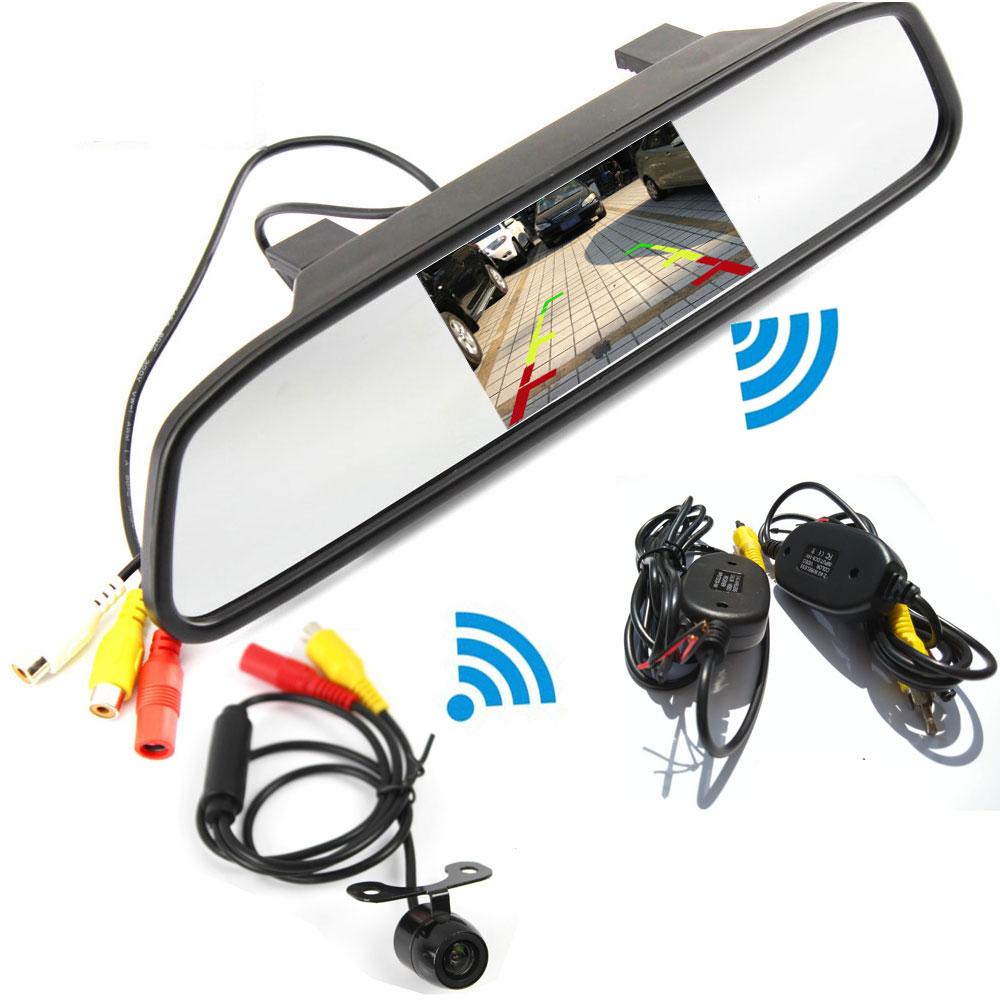 Wireless Parking Assistance System 2 in 1 4 3 inch Digital TFT LCD Mirror Wireless Rear