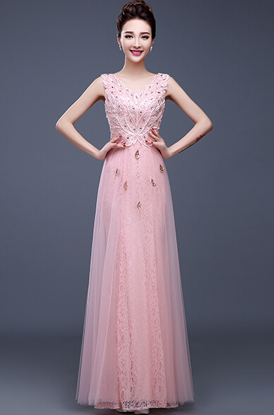 2019 Exquisite Elegant Pink Red Sky Blue Dark Blue Long   Prom     Dresses   with Beadings & Appliques Formal Party Gown Zip Back TB001