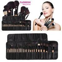 32 шт. pincel de maquiagem make up кисточки maquiagem profissional из набор кистей для макияжа + черная кожаная сумка