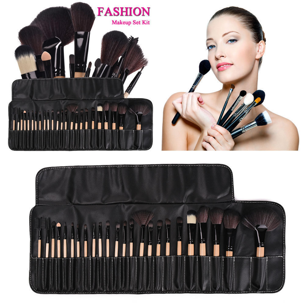 32 pièces pincel de maquiagem pinceaux de maquillage maquiagem professionnel de maquillage ensemble de pinceaux + sac en cuir noir
