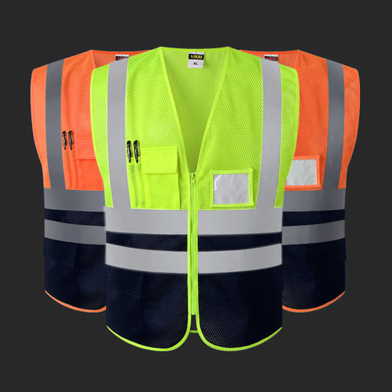 High visibility vests reflective safety tops for women men unisex construction worker builder two tone yellow black orange black